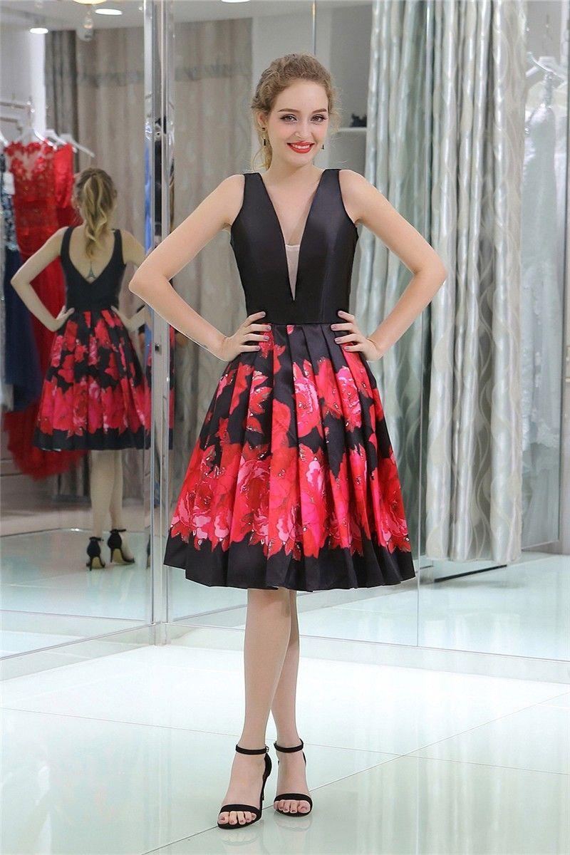 A line v neck short black satin red floral printed prom dress