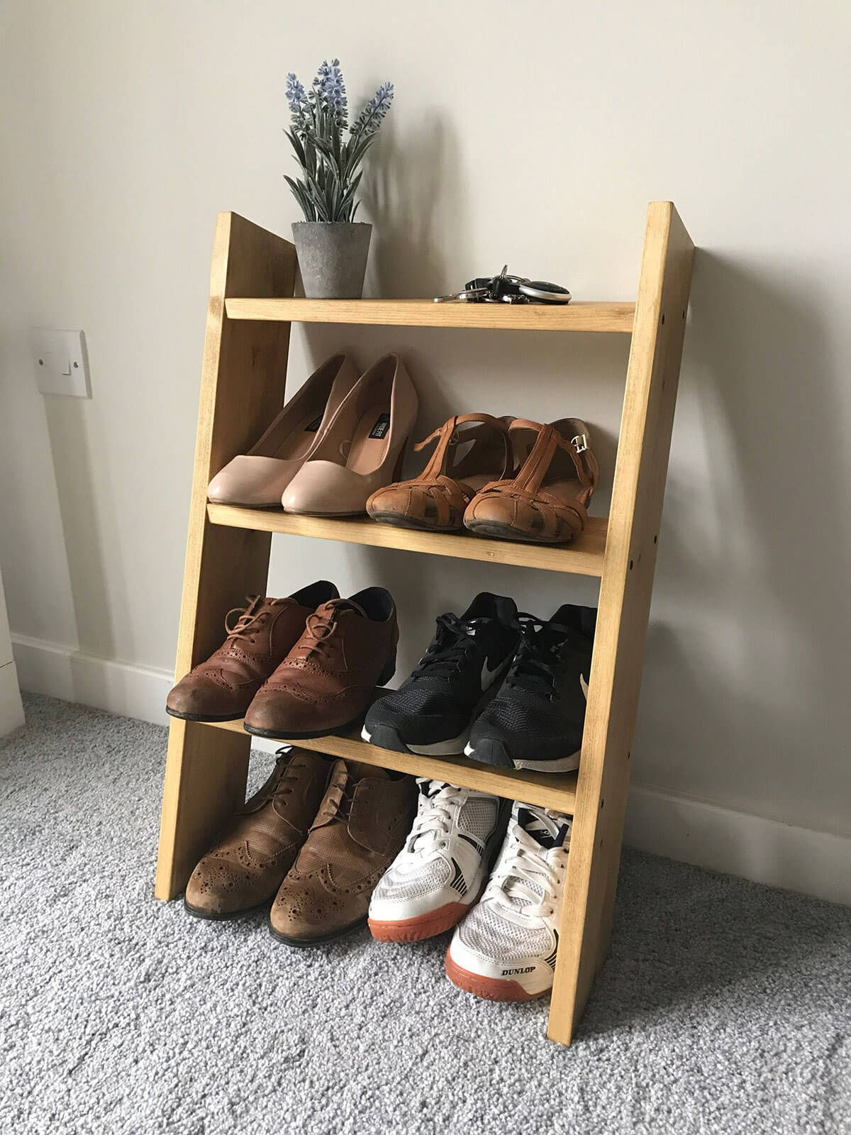 19 Clever Entryway Shoe Storage Ideas To Stop The Clutter Entryway Shoe Storage Wood Shoe Rack Shoe Rack Oak