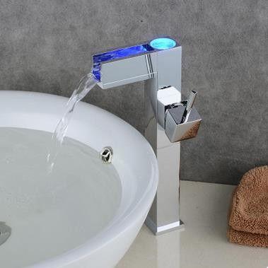 Color Changing Led Waterfall Bathroom Sink Tap Tall Tq0615hf Robinet Lavabo Robinet Salle De Bain Lavabo