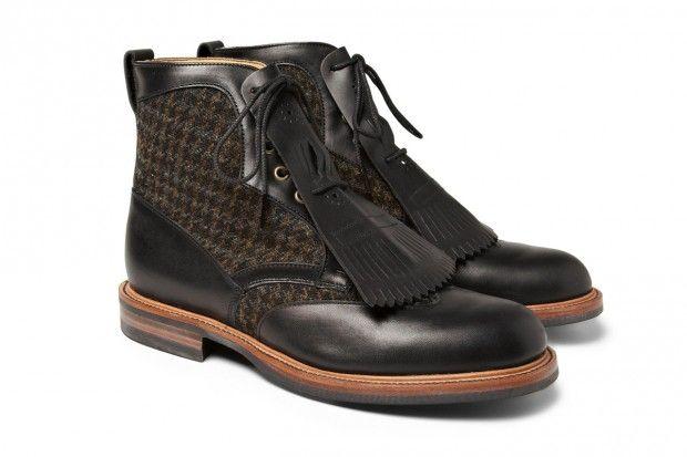 Wooyoungmi 流蘇 Harris Tweed 皮革靴款
