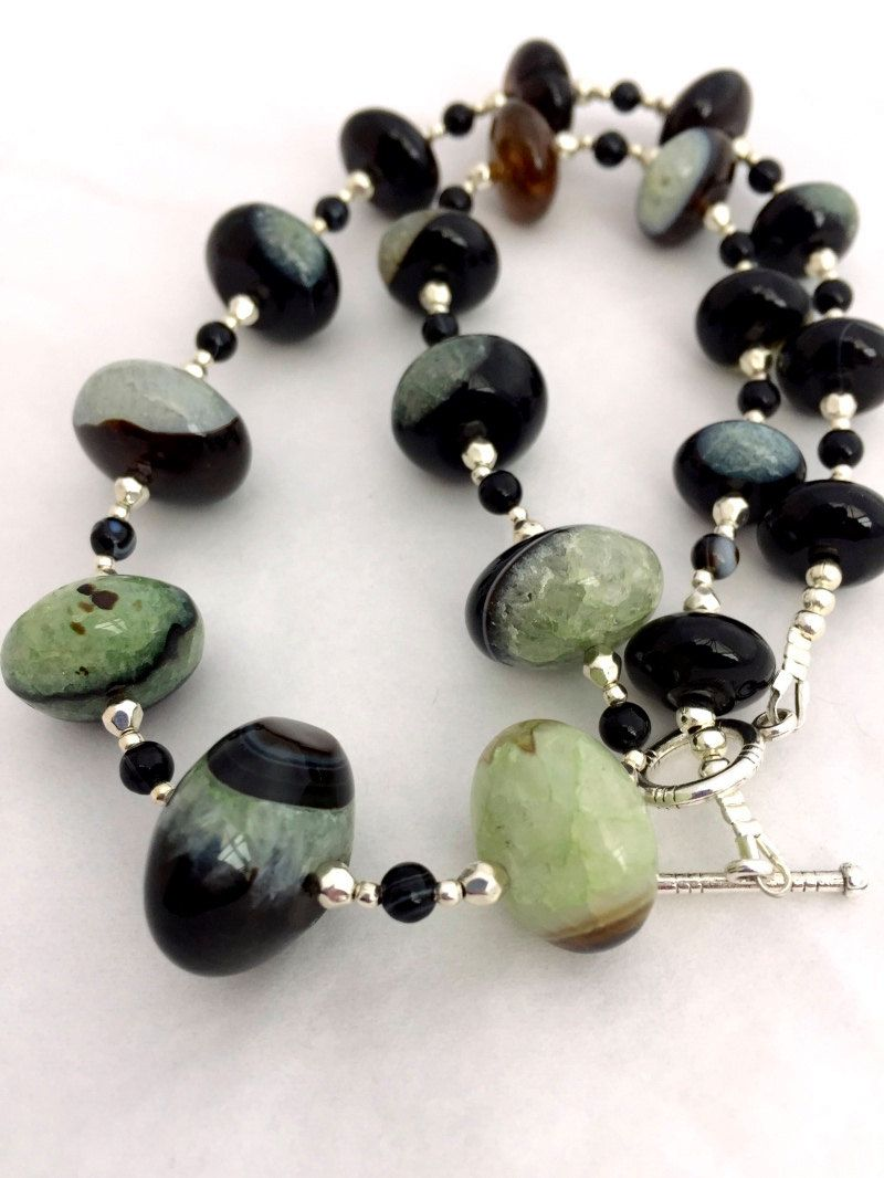 Black and Green Agate Gemstone Necklace, Multi Coloured Beaded ...