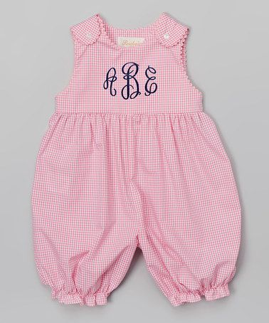 Pink Gingham Rickrack Monogram Bubble Romper - Infant & Toddler #zulily #zulilyfinds