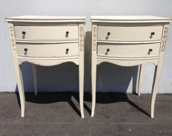 2 French Provincial Neoclassical Nightstands Furniture Bedside Tables Chests Dresser Bedroom Chest Dresser Mahogany Wood Painted Furniture