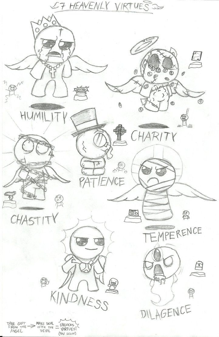 Binding Of Isaac 7 Heavenly Virtues Sketch By Leathericecream