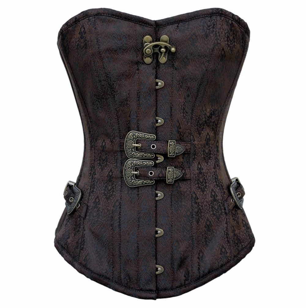 Womens Gothic Overbust Steampunk Corset Steel Boned Bustier Corset Brown 2XL