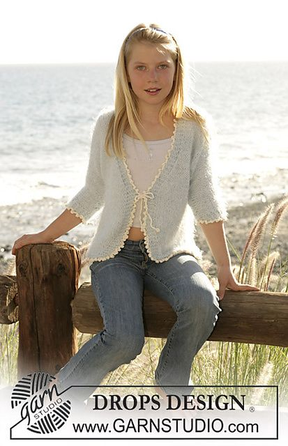 So Girly Cardigan Knitted In Stockinette Stitch With Symphony And A Crochet Edge In Muskat Pattern By Knitting Girls Drops Design Knitting Patterns Free
