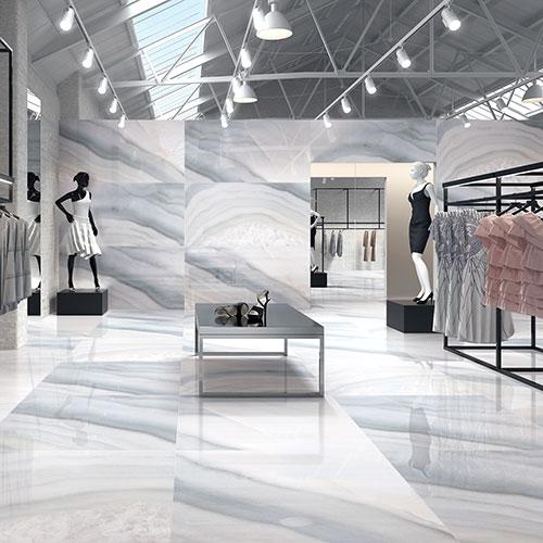 Calacatta White Gloss Floor Tiles Beige Vein Design Living