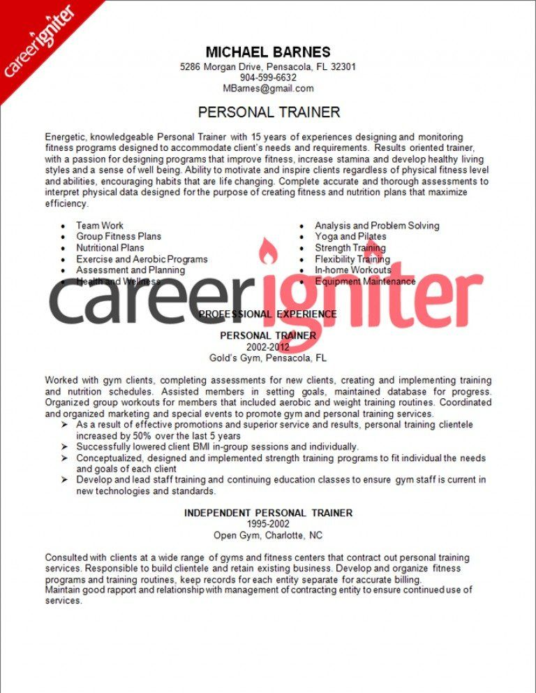 16+ Personal trainer resume example inspirations