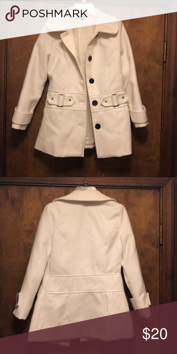 Girls Lovely White Coat With Black Buttons Size M My Posh Closet