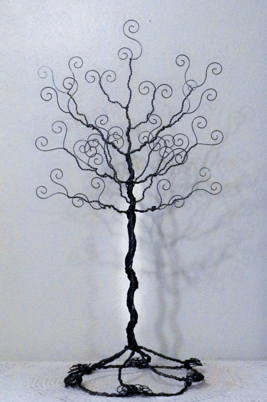 Wire jewelry tree stand earring necklace organizer par ivysgembox ...