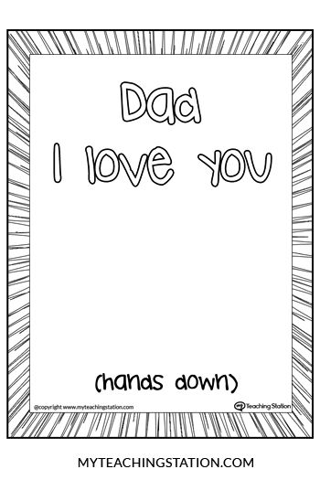 Dad I Love You Hands Down! Hand print kids activity. | Pinterest ...