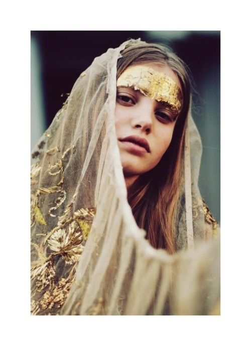 Gold wedding headdress.