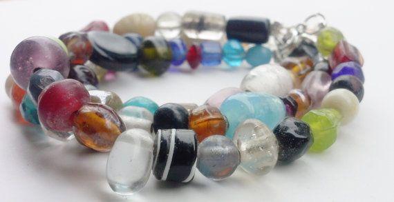 3 Colorful Glass Bead Bracelets by ShamisesBlissful on Etsy, $15.00