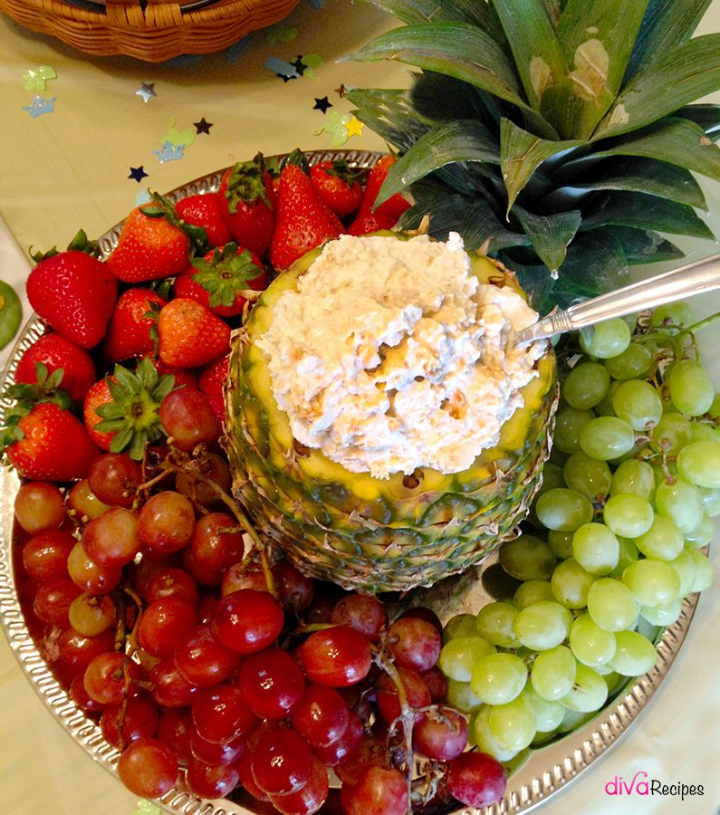 Perfect Baby Shower Ideas Featuring A Fruit Tray With A Yummy Pineapple Dip   Diva  Recipes