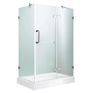 Vigo Monteray 48 125 In X 79 25 In Frameless Hinged Shower Door In Chrome With Clear Glass With Right Base In White Vg6011chcl36wr The Home Depot In 2020 Glass Shower Enclosures Corner