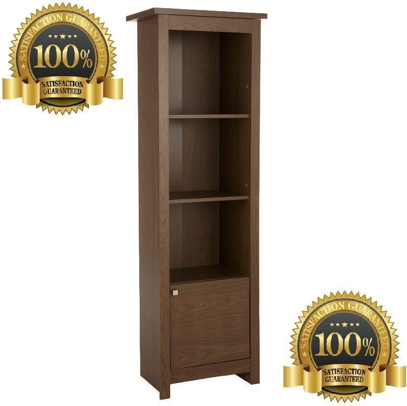 Tall Display Cabinet Walnut Unit Living Dining Room Study