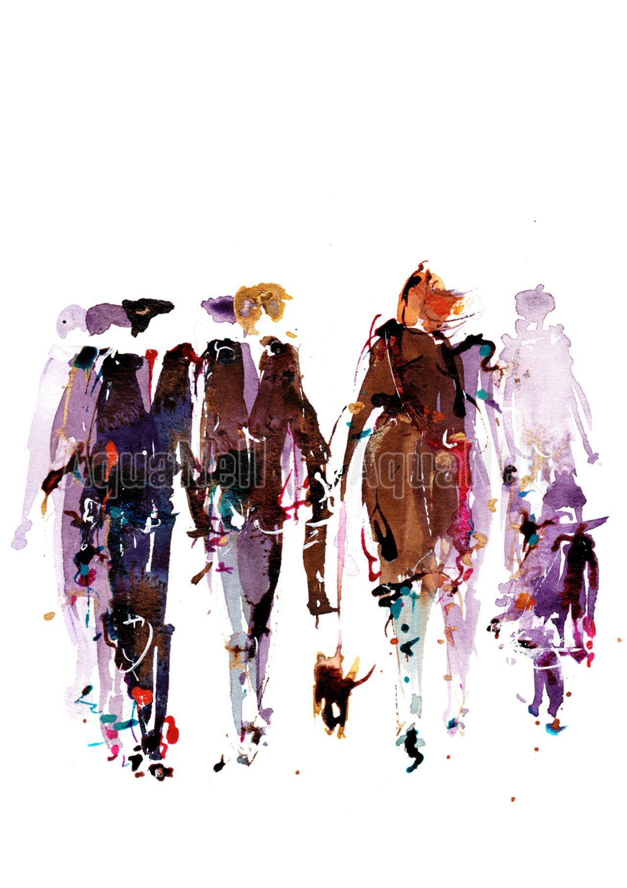 Peinture Illustration Aquarelle Pour D Coration Murale Foule Urbaine 2 Art People