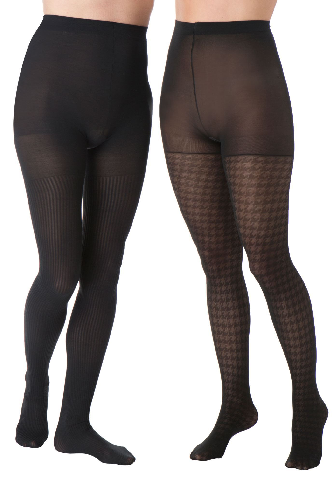 6566c0ce5c7 Print play takes center stage in this 2-pack of patterned plus size tights.  this alluring hosiery pack contains clever dotted tights and pretty floral  ...