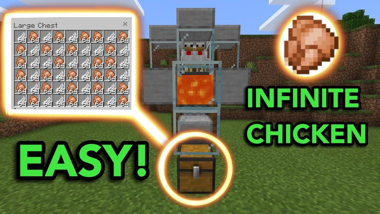 EASIEST AUTOMATIC CHICKEN FARM in Minecraft Bedrock MCPE Xbox PS4 Nintendo Switch Windows10