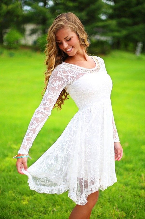 Long Sleeve White Lace Dress Wedding Rehearsal Dinner Reception Simple Summer Only 1 Small Large Left