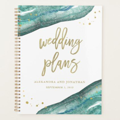 Watercolor Teal and Gold Geode Wedding Plans Planner Pinterest
