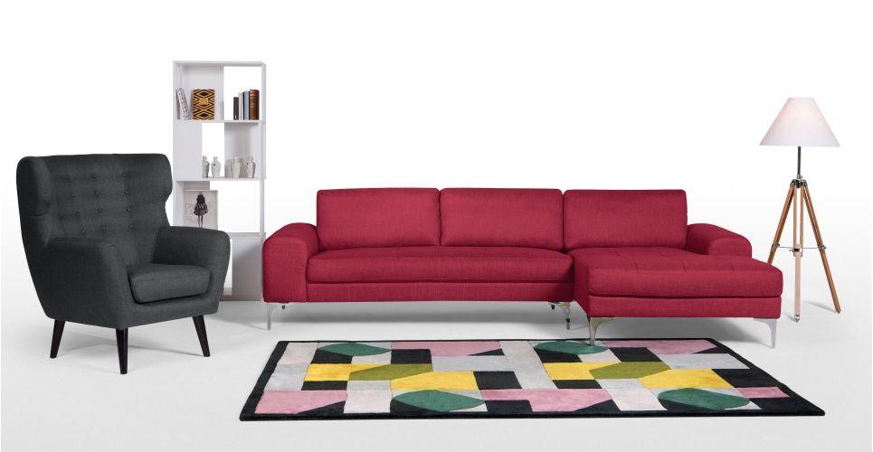 Exklusive wohnzimmermöbel ~ Vittorio ecksofa récamiere rechts opernrot wohnen