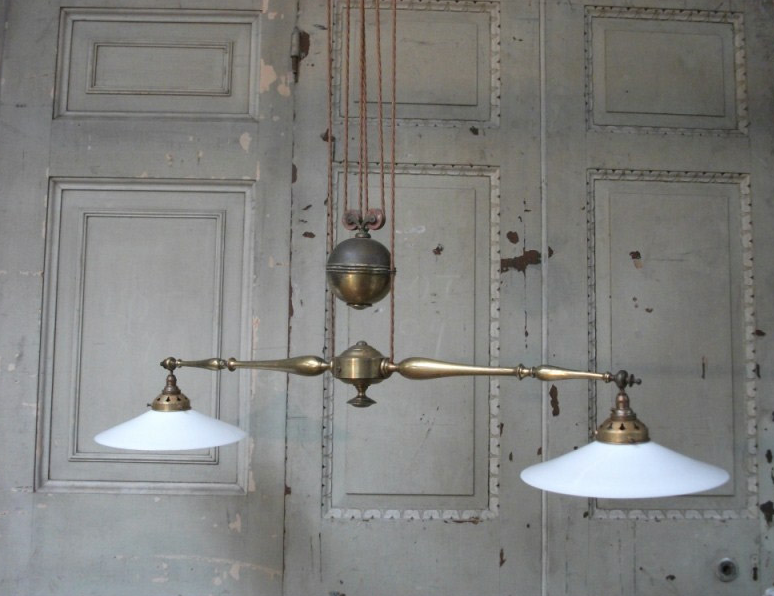 Vintage 1910 double rise and fall pendant light  beautiful