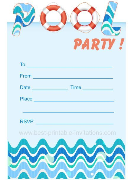 Printable Pool Party Invites Swim