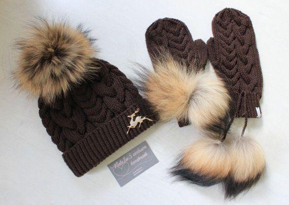 Winter women's knit hat, Beanie hat, mittens,brooch,dark chocolate colour #Handmade #