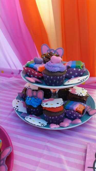 Diy dollar store cupcake stand hello kitty party