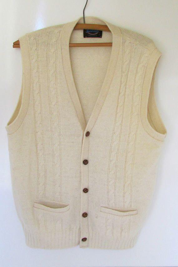 Vintage Mens Jantzen Sweater Vest Fisher Knit Cable Knit Cardigan