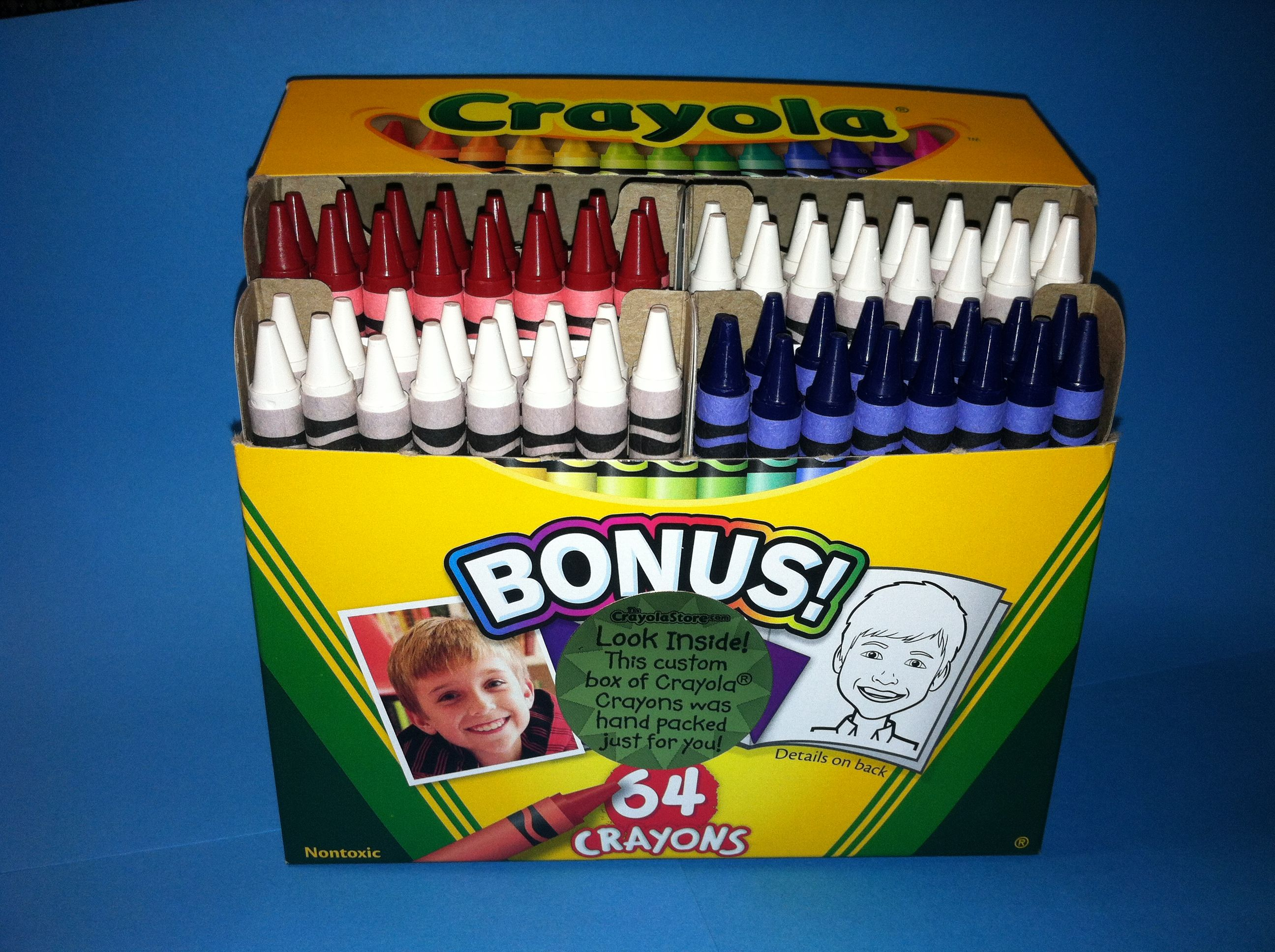 Buy a custom box of red white and blue crayola