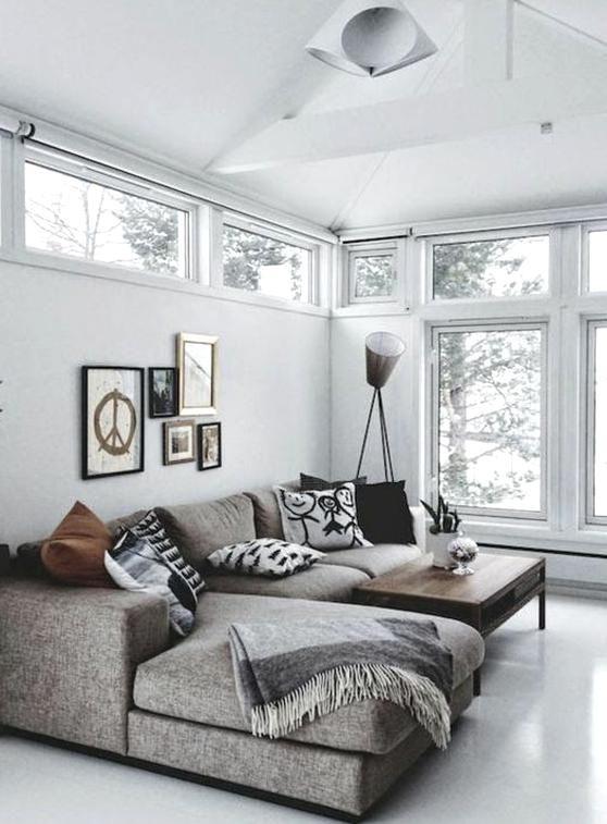 wohnzimmer einrichten ideen fenster sofa grau in 2020 ...