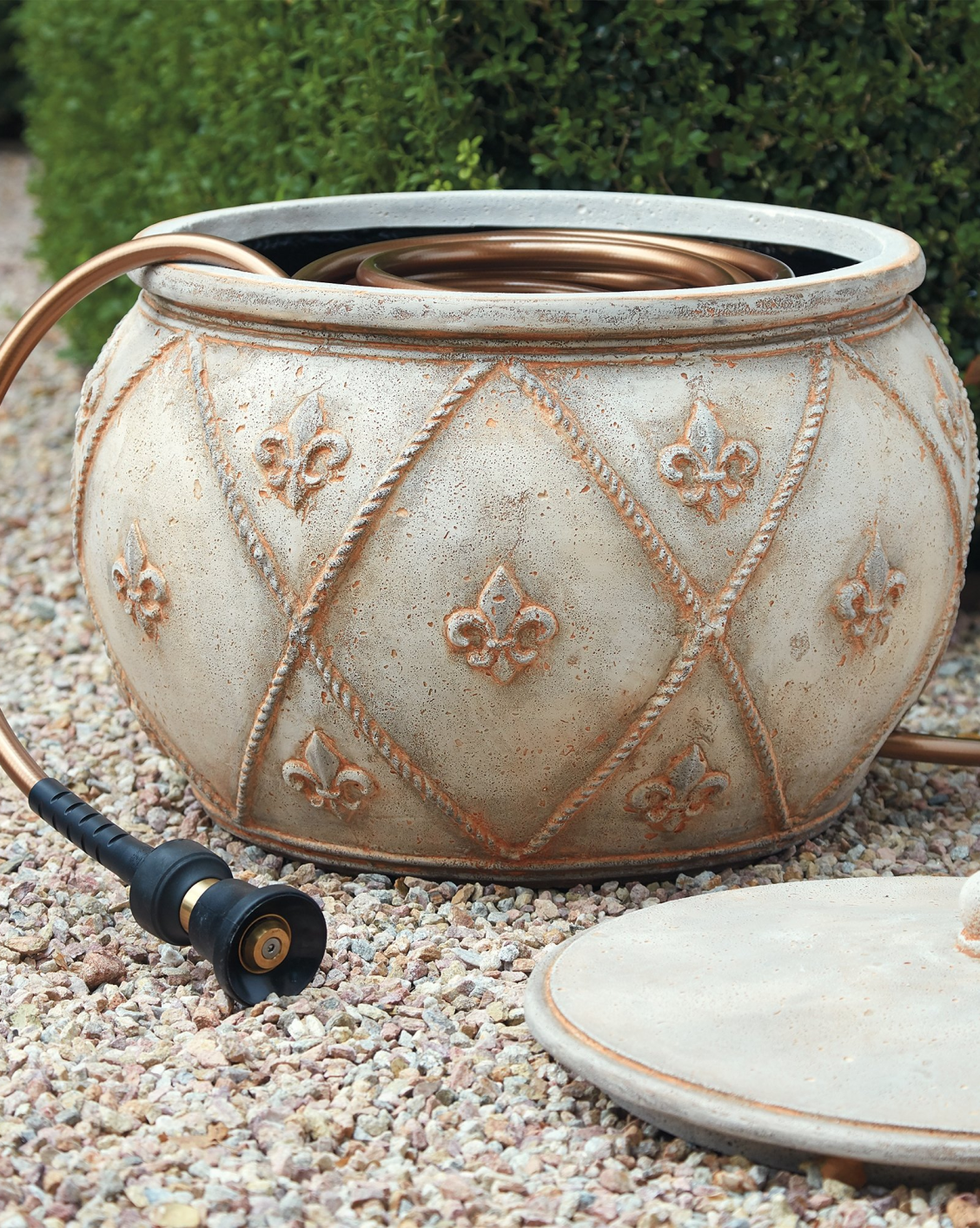 Fleur De Lis Hose Pot Frontgate Luxury Garden Garden Hose Storage Tuscany Style