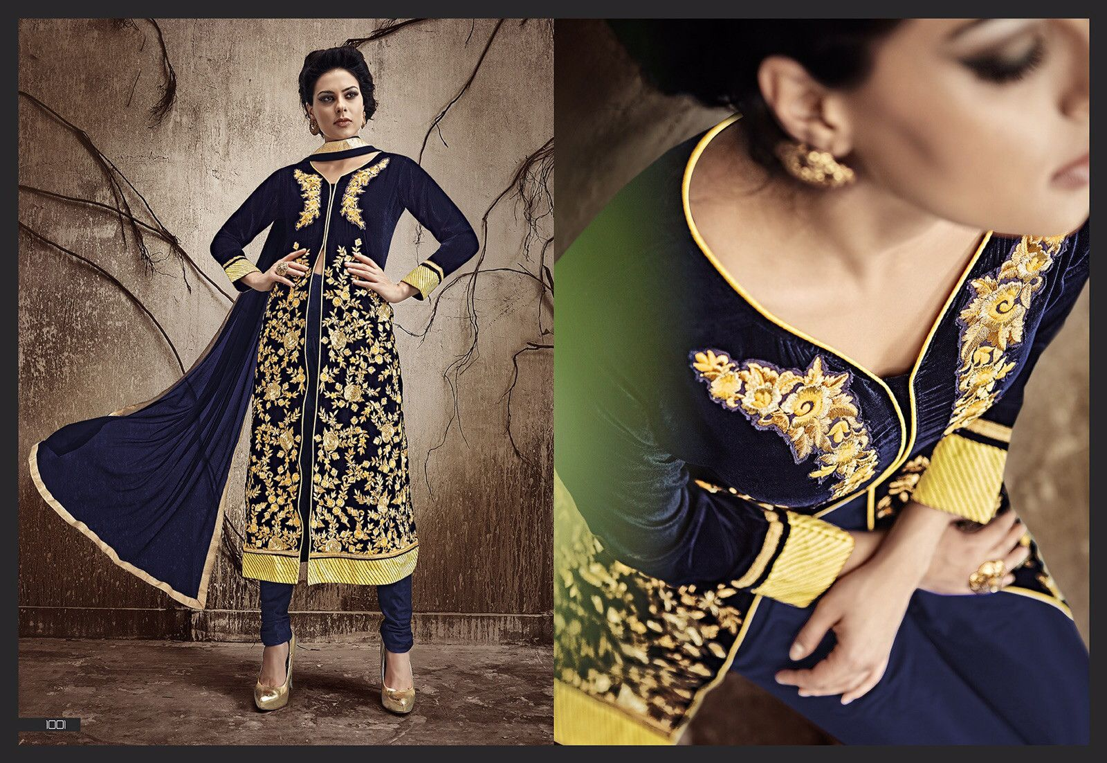 Full sleeve ceremonial dress with resham and thread embroidery
