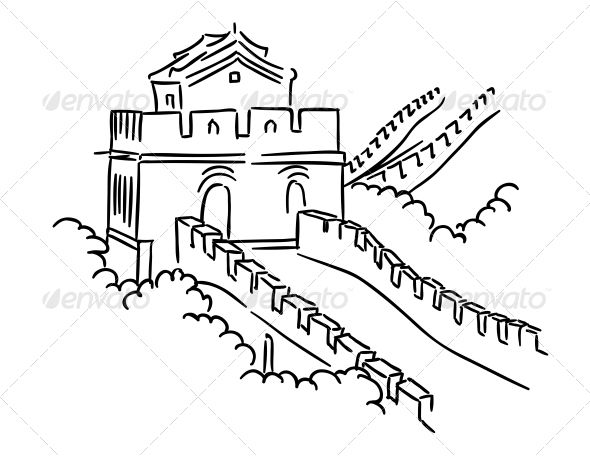 Great Wall In China Arte Chinesa Arte Desenhos