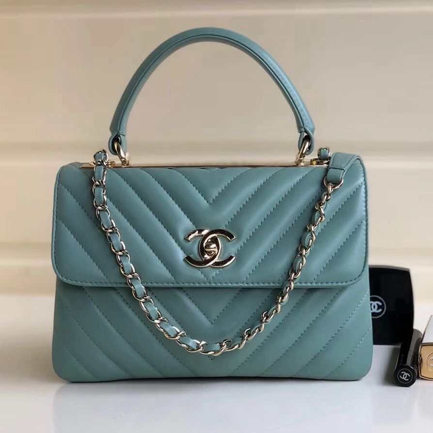 32a43f67eef3d1 Chanel Chevron Small Trendy CC Flap Bag With Top Handle A92236 Light Green  2018(Gold-tone Hardware)