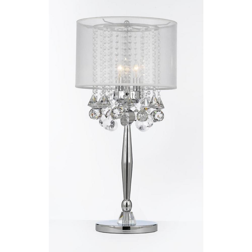 Charles serouya son modern 29 in silver mist table lamp with hanging crystals