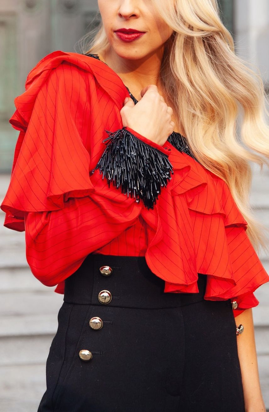 82b70b8093d4 Red One Shoulder Top 2 Ways   Beautiful Style   One shoulder tops ...