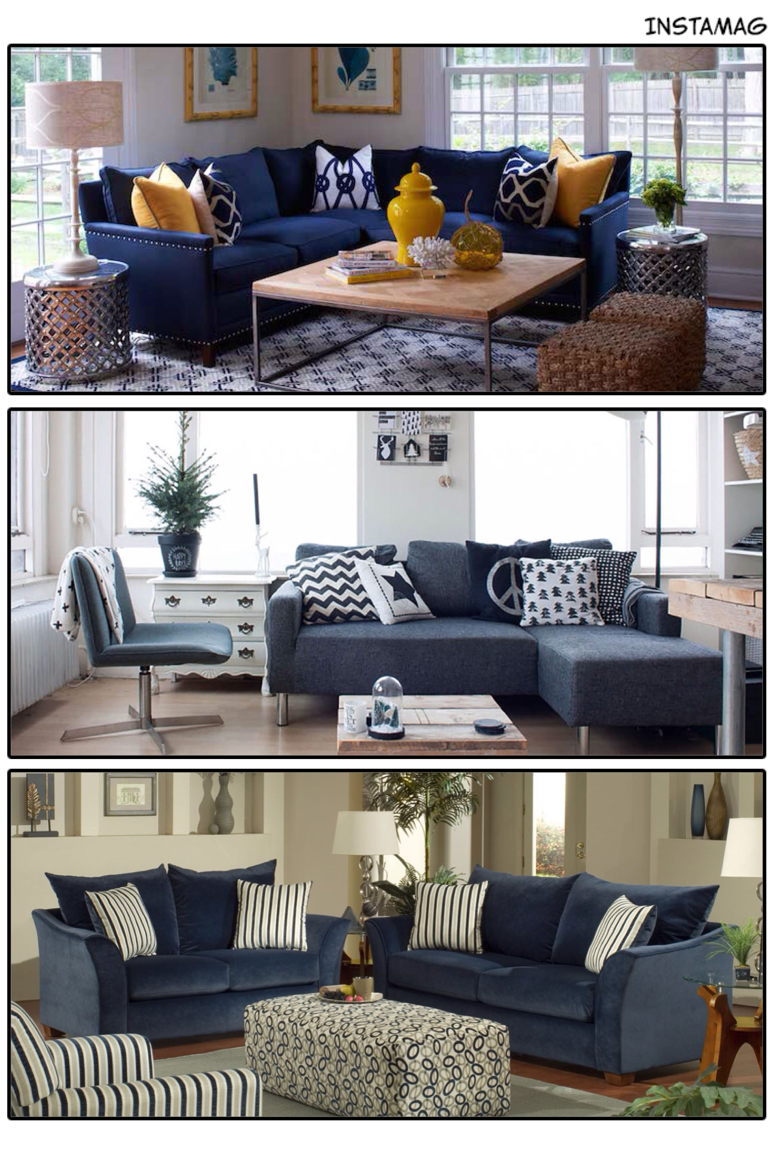 Transitional Living Room With Coastal Vibe And Blue: Featuring Blue Upholstery And Sleek Mid-century Design