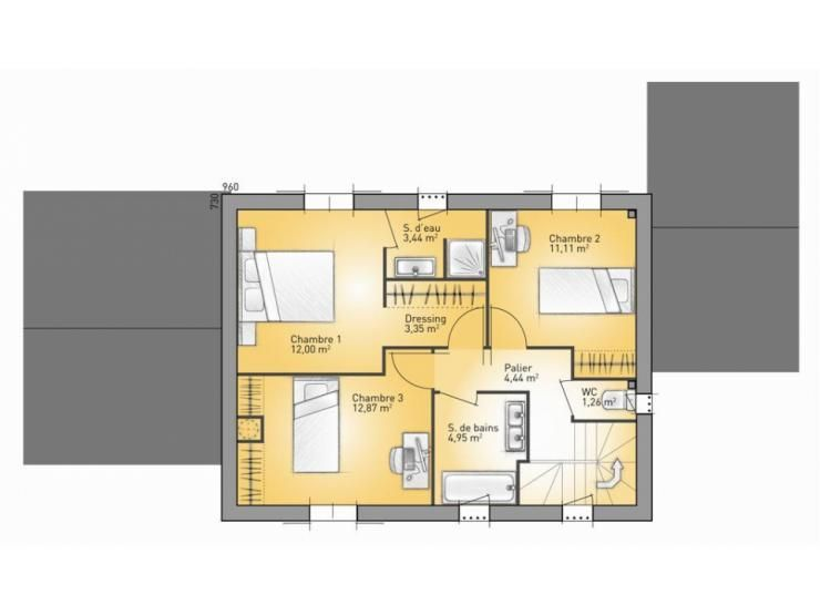 Plans de maison  1er étage du modèle Mas  maison traditionnelle à