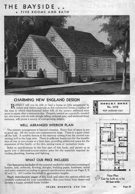 Sears Bayside 1938 3410 Vintage House Plans Cottage House Plans Home Improvement Catalog