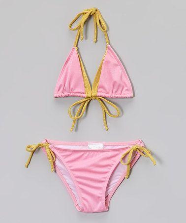 Love this Pink & Gold Bikini - Girls on #zulily! #zulilyfinds