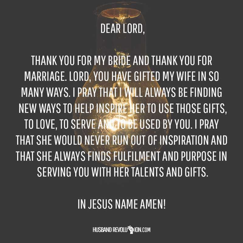 Thank You Quotes For Wife: Prayer: Helping My Wife Be Inspired