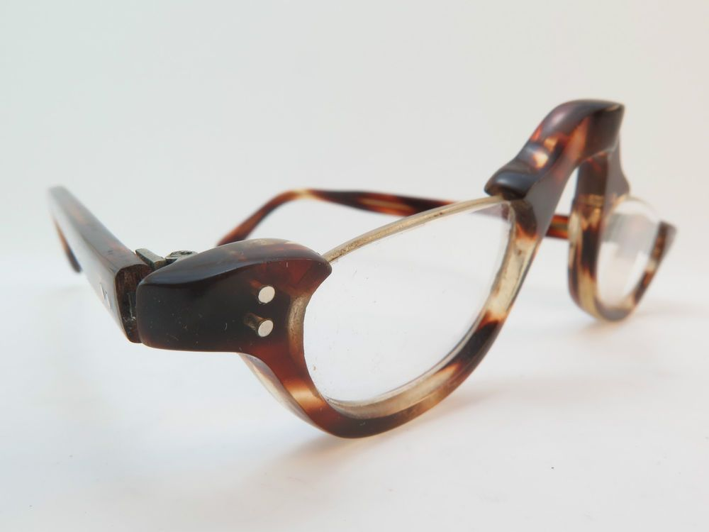 Vintage 40s half eye reading glasses hand made in England tortoise acetate men M
