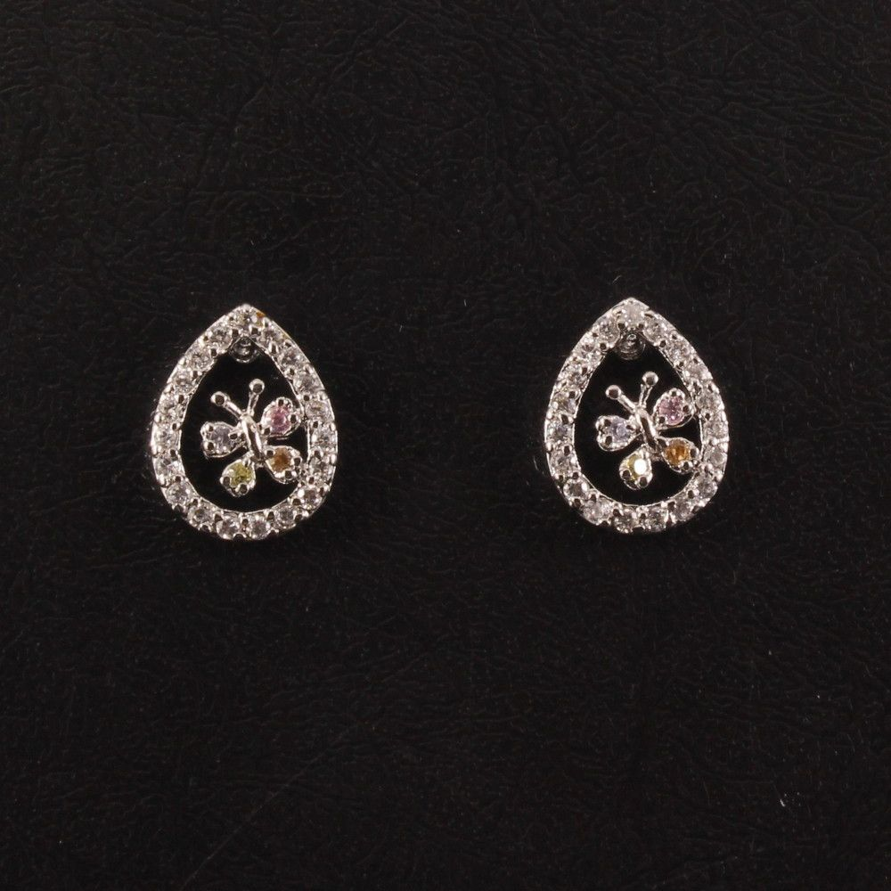 58cb21eb2a70c Classic Designer Earring With Small Butterfly and CZ Colour Stones ...