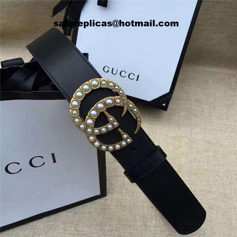 5a2f6ea4919 Replica Gucci pearl Double G belt 453260 Black Leather