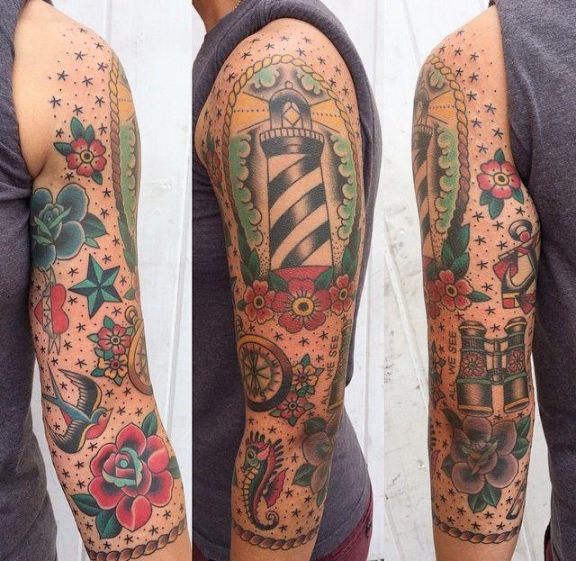 Old school sailor tattoo sleeve for Old school tattoo sleeve