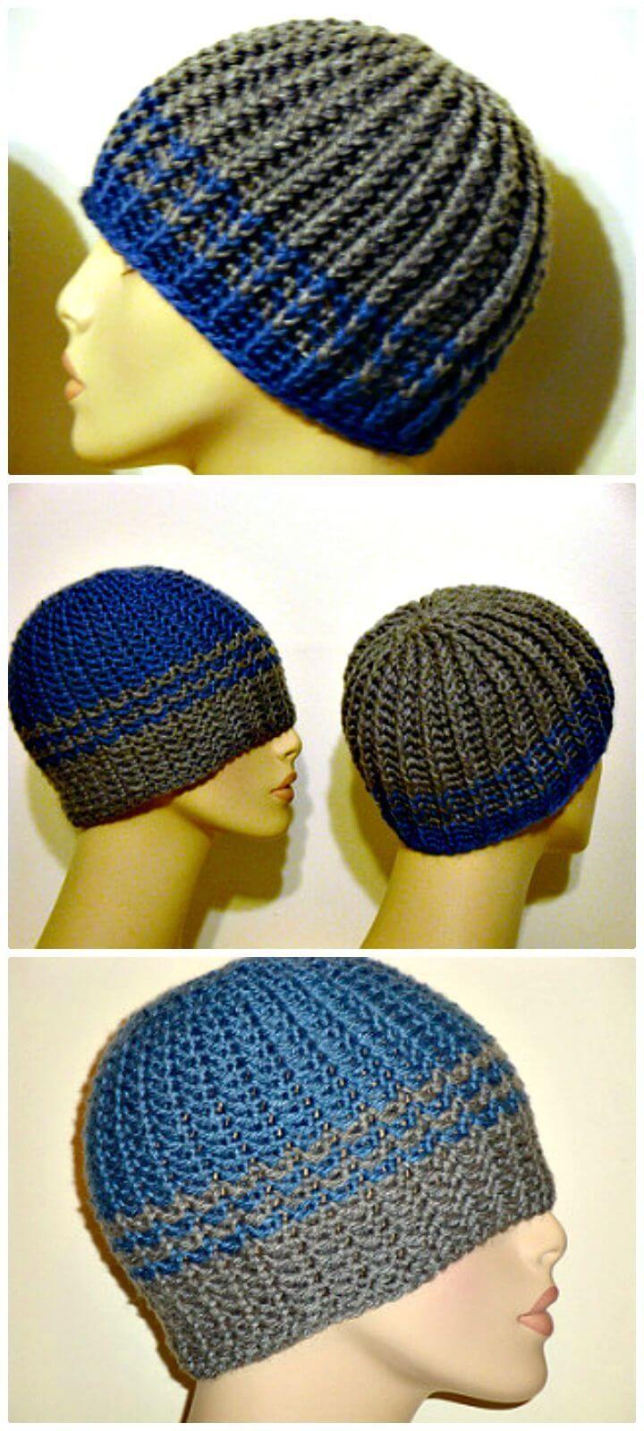 Free Crochet Reversible Strands For Men Pattern 20 Free Crochet Hat Patterns That Adorable For Men S Crochet Hats Free Pattern Crochet Mens Hat Crochet Hats