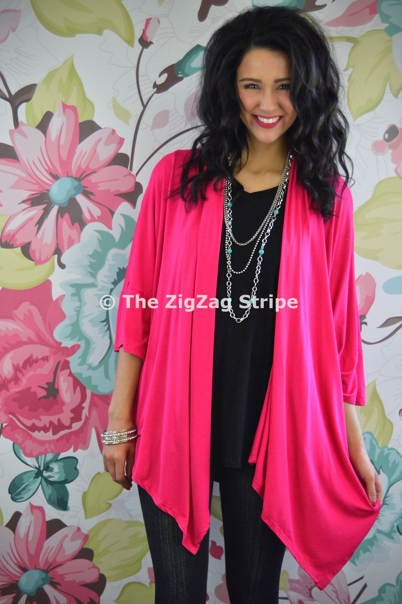 Hot Pink Kimono Cardigan – The ZigZag Stripe. Use coupon code ...